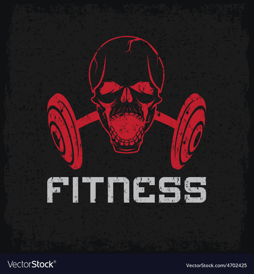 Grunge aggressive skull and barbell fitness emblem vector image