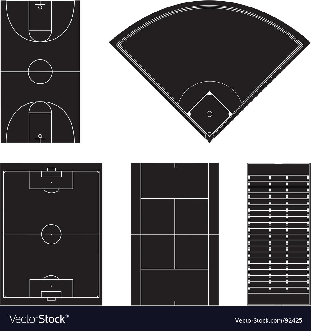 Sport field layouts in black vector image