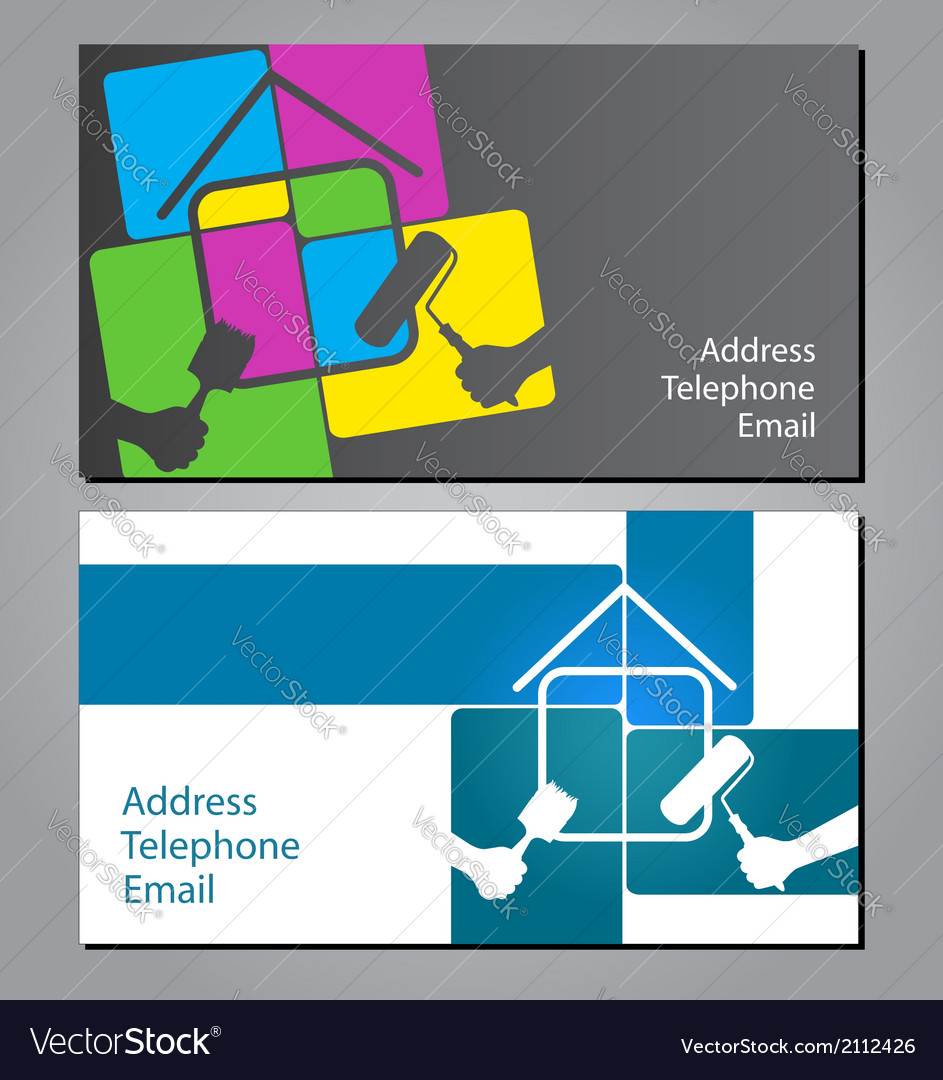 Business card for painting houses Royalty Free Vector Image
