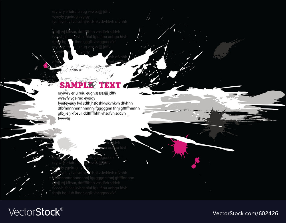 Grunge black banner with splats vector image