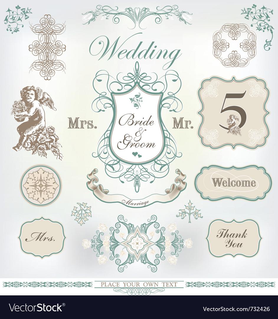 Wedding decoration set vector image