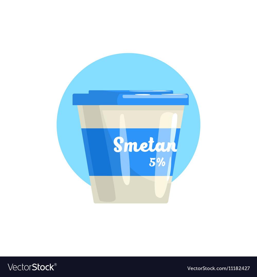 Sour Cream Farm Product Colorful Sticker vector image