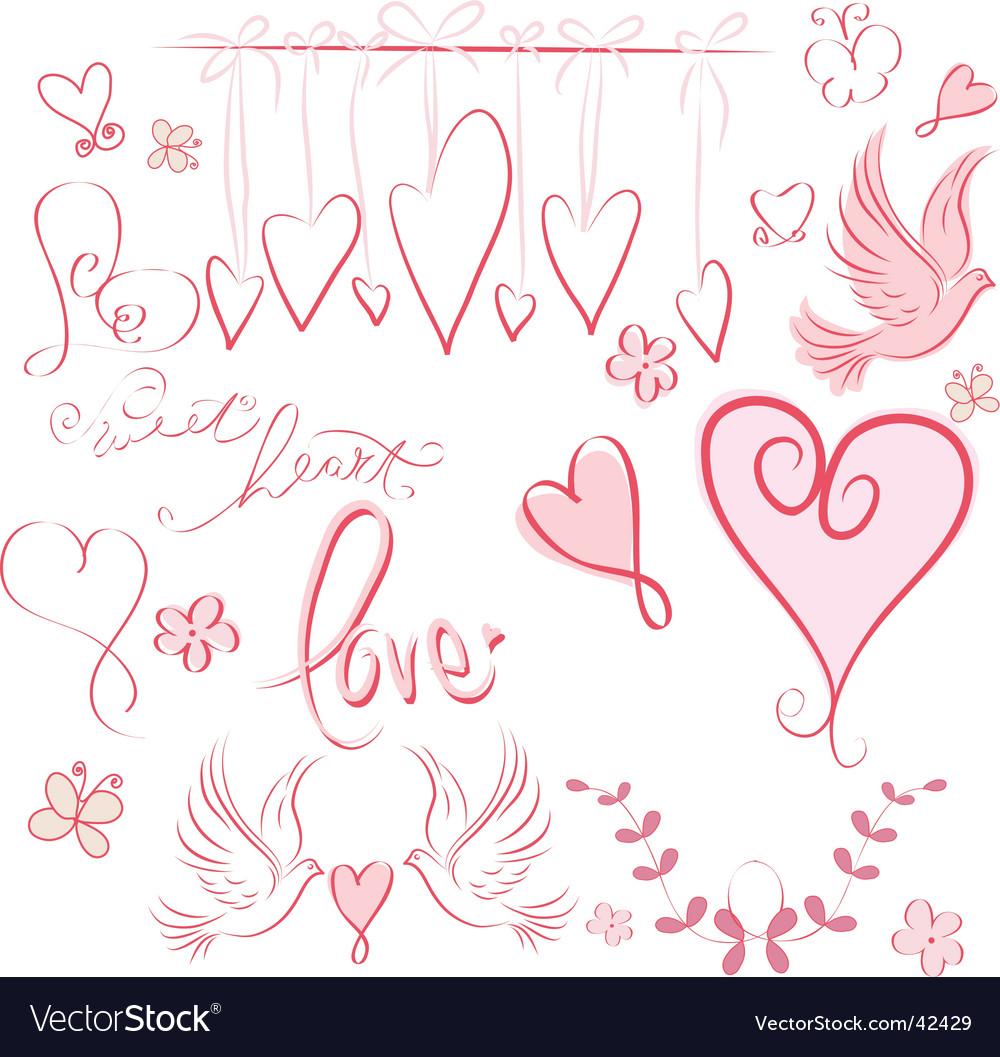 Whimsical valentine vector image