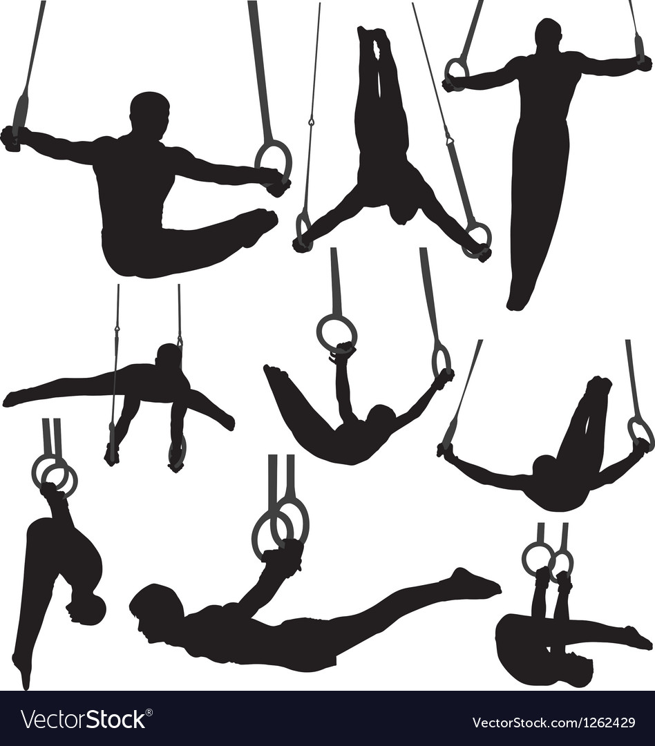 Gymnastics Rings Silhouettes vector image