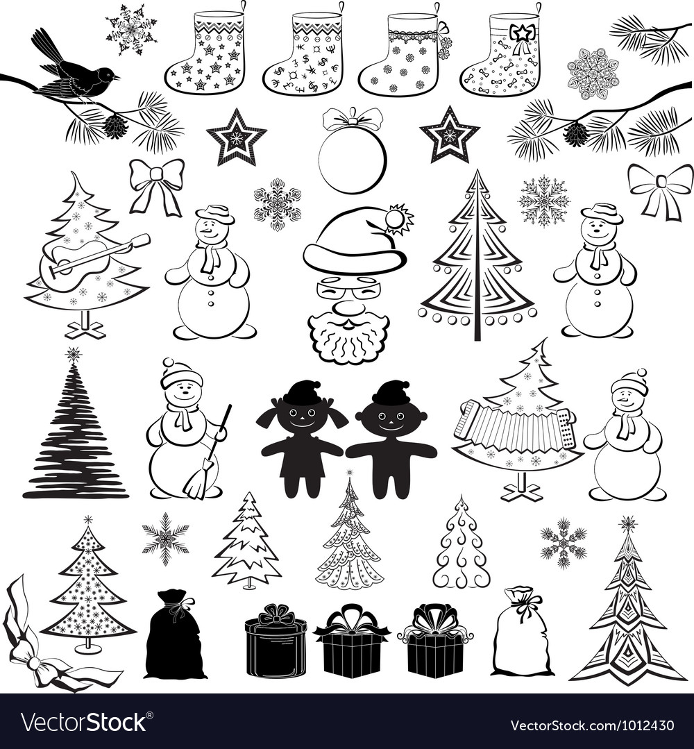 Christmas cartoon set black silhouettes vector image