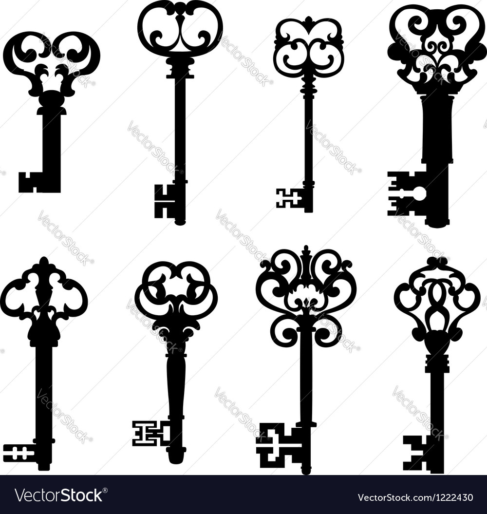 Old keys set in retro style Vector Image