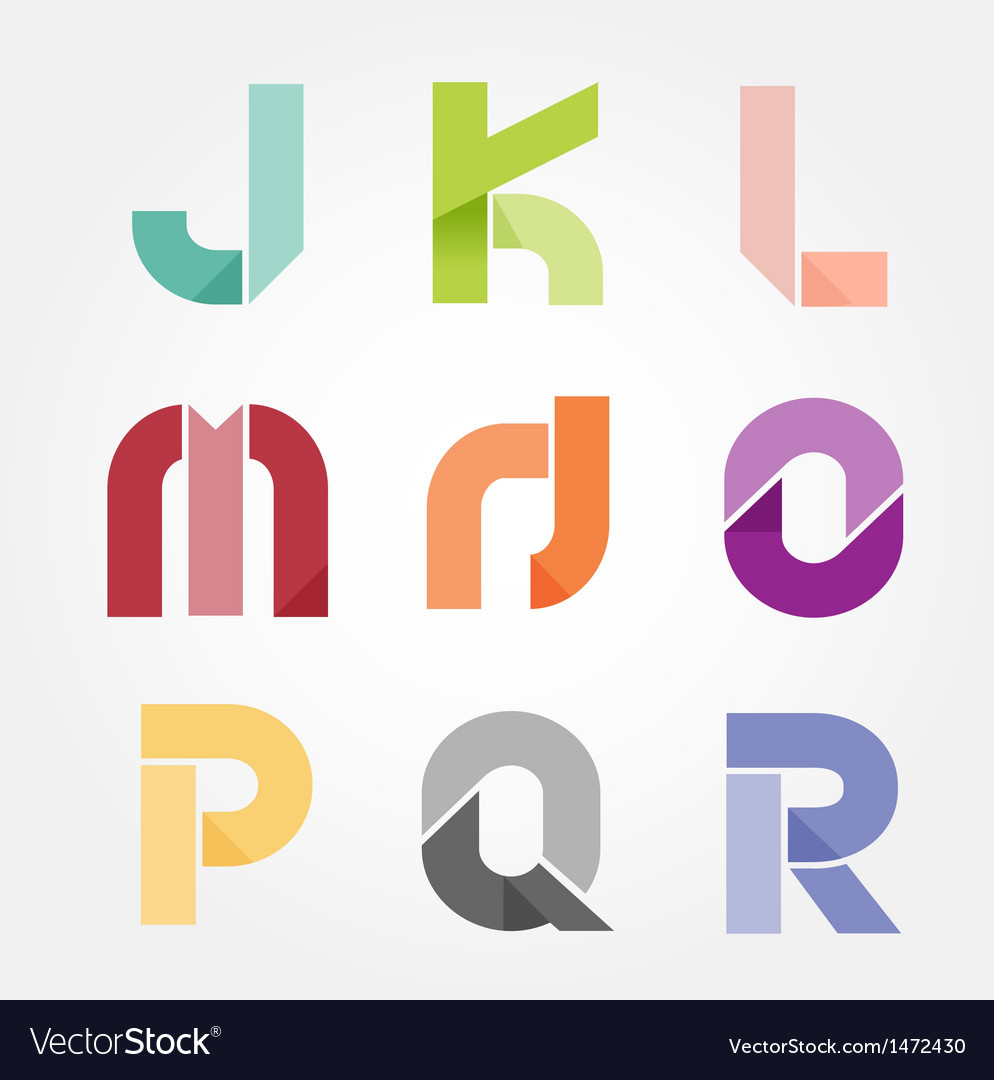 Alphabet modern paper cut abstract style Design vector image