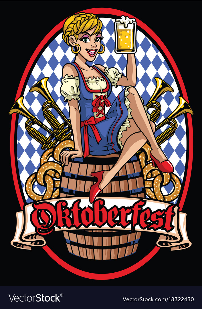 Happy girl of oktoberfest sitting on the beer vector image