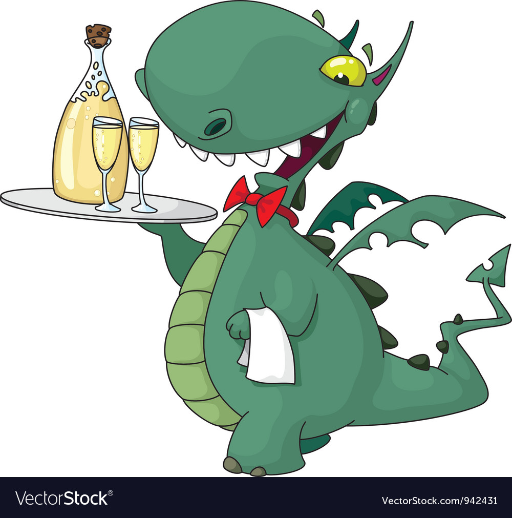 Funny waiter with bottle vector image