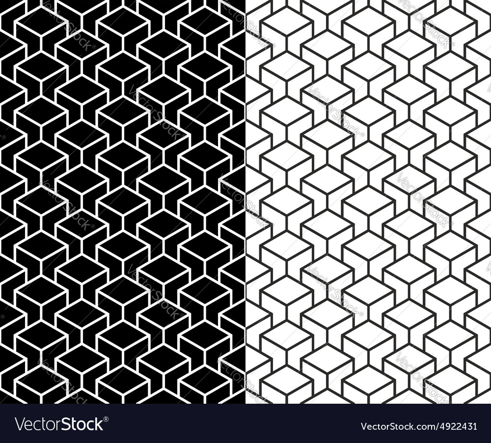 Isometric 3d Line Cube Pattern Background Vector Image
