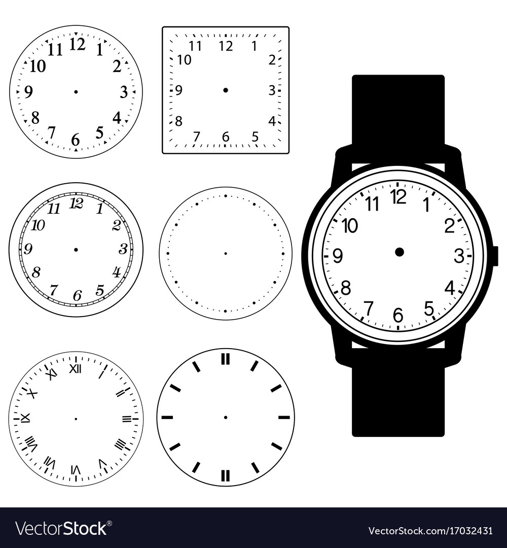 worksheet Blank Analog Clock Face set of blank hand watch face and wall clock vector image image