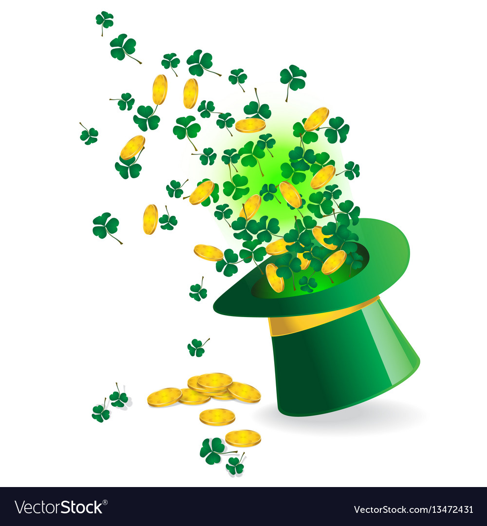 Shamrock coin and magic hat vector image
