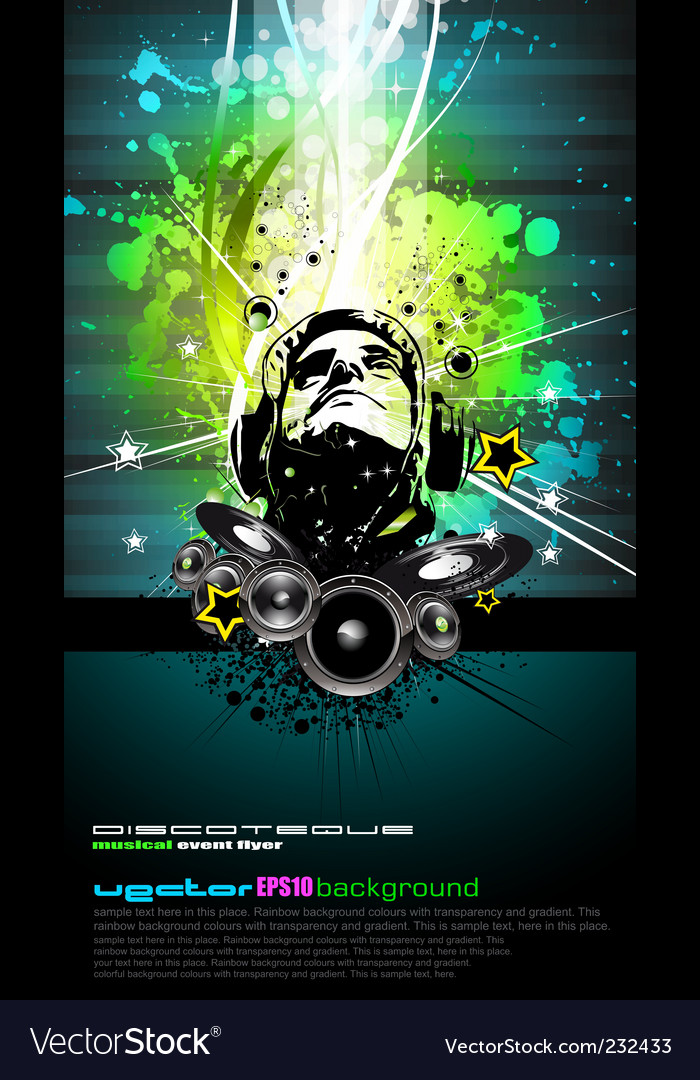 DJ disco flyer vector image