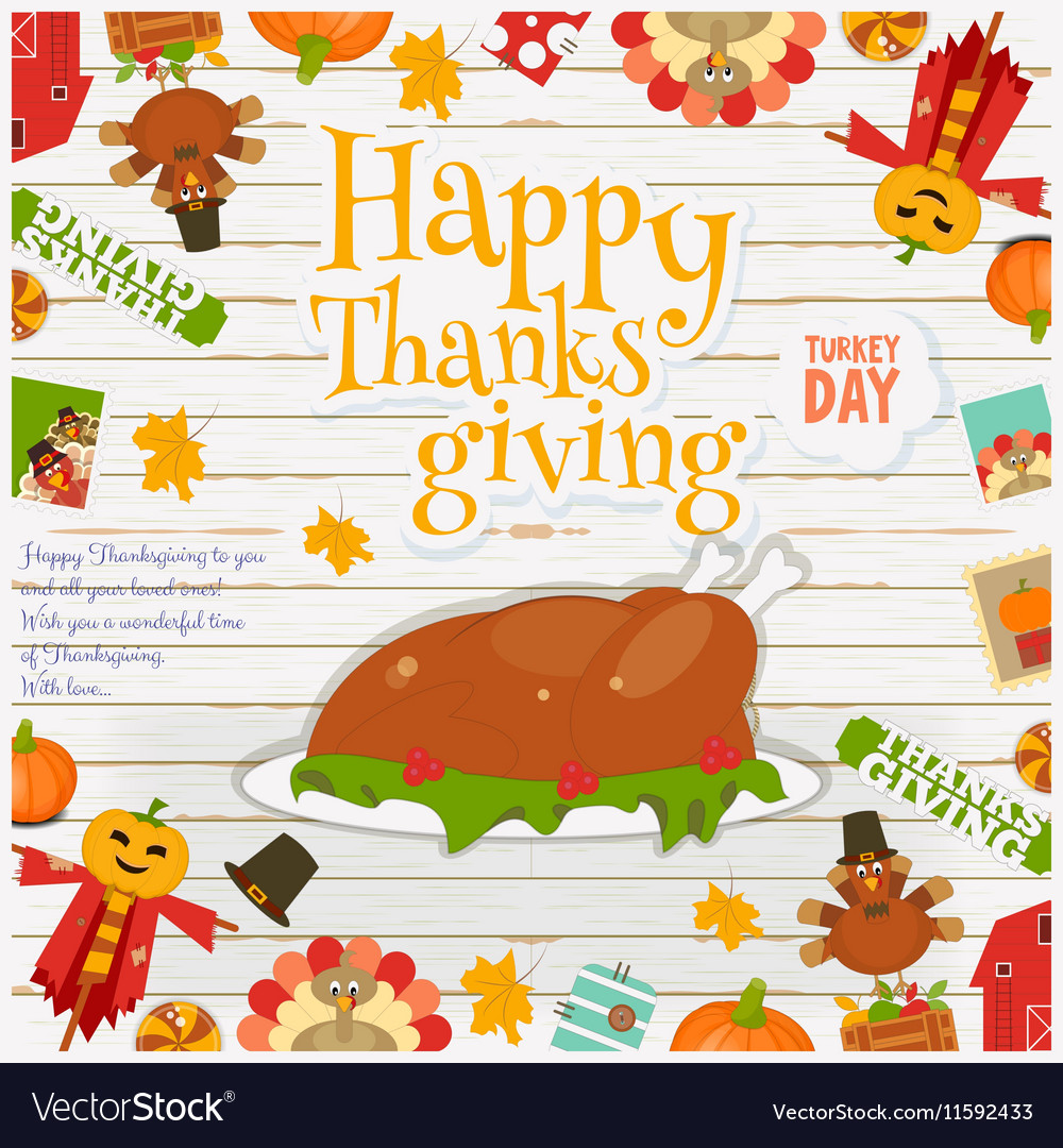 Happy Thanksgiving card turkey vector image