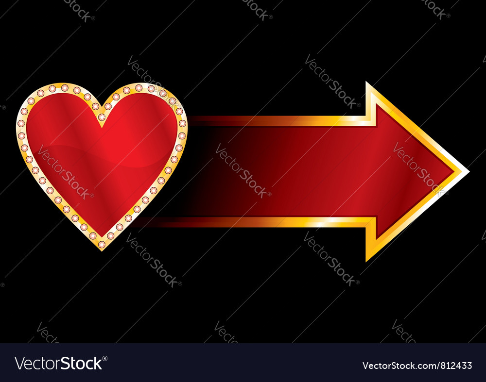 Label with heart vector image