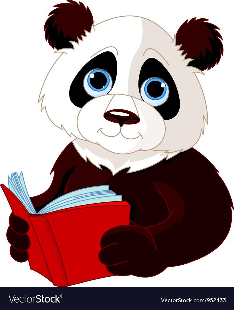 Panda reading a book vector image