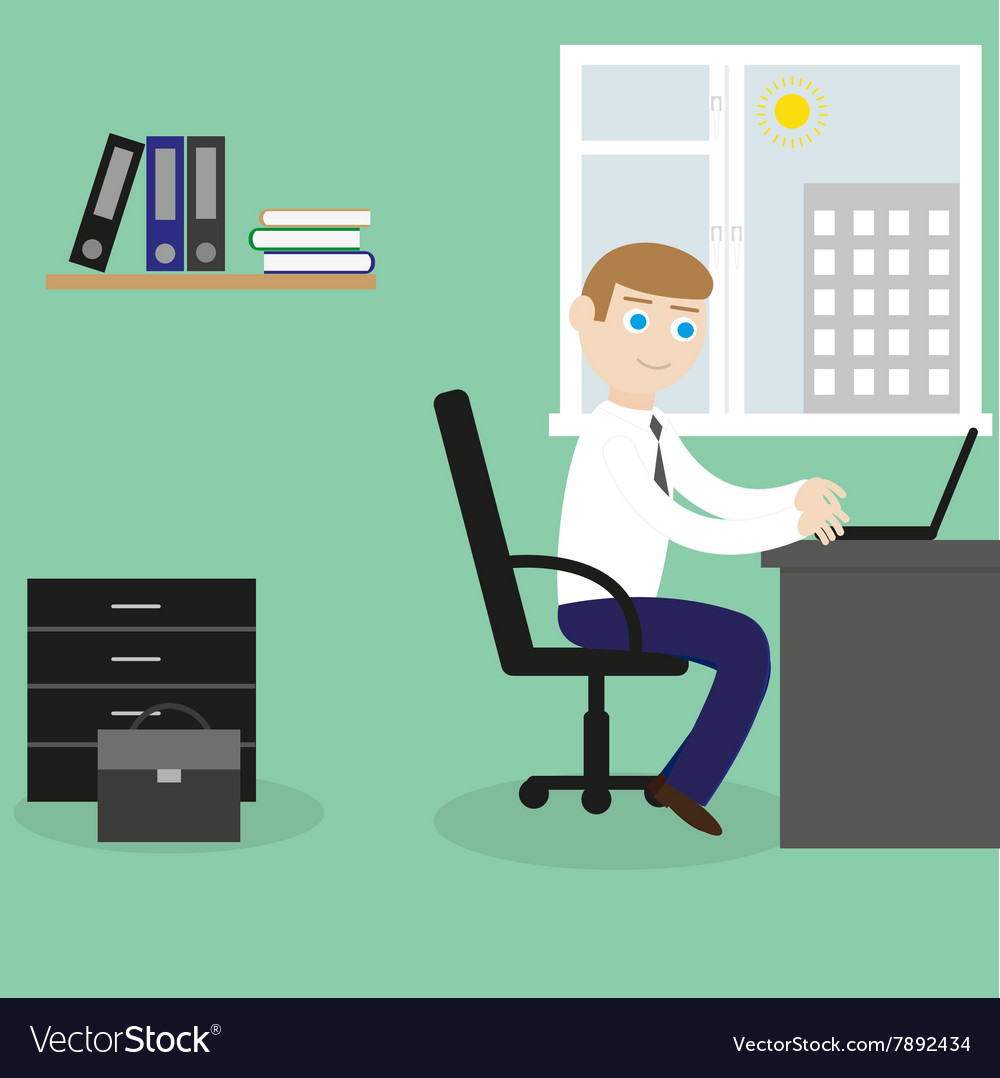 Businessman works with the laptop vector image