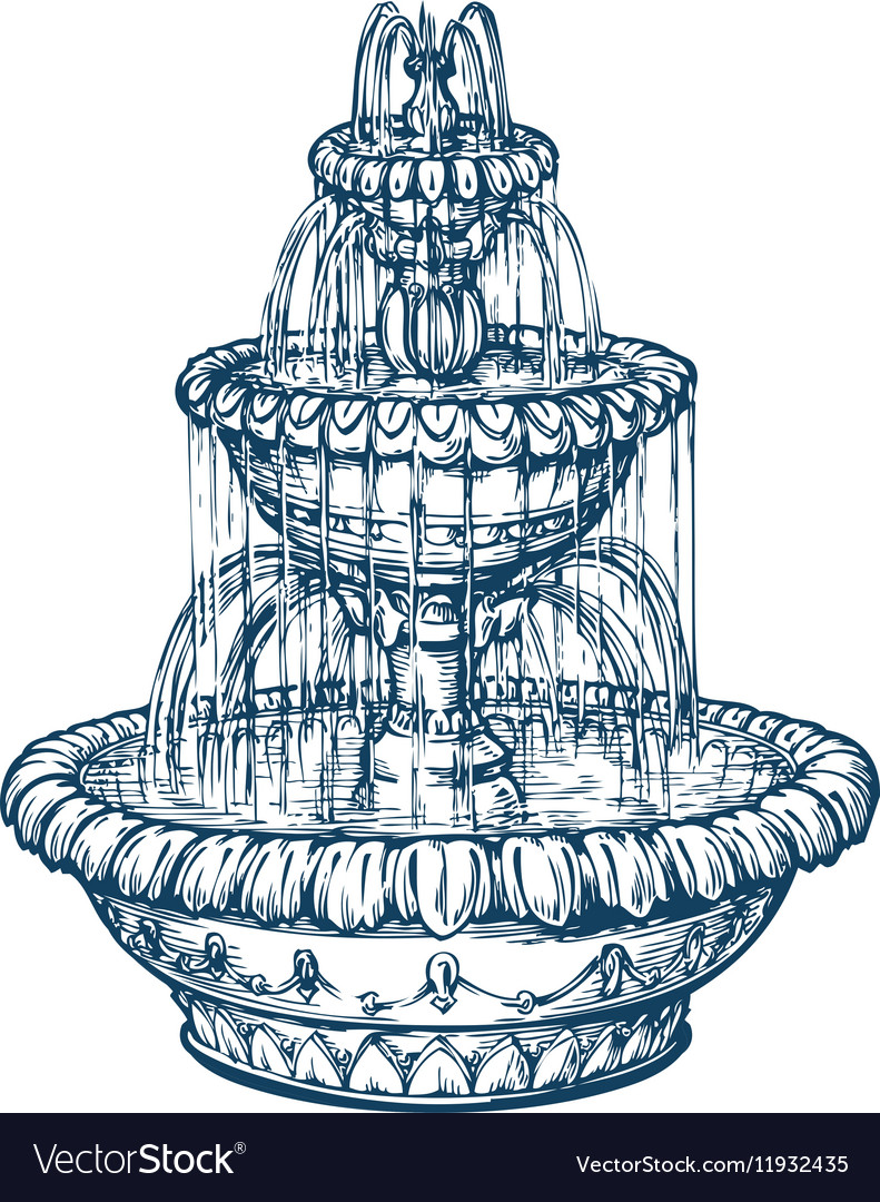 Beautiful outdoor marble fountain Sketch vintage vector image