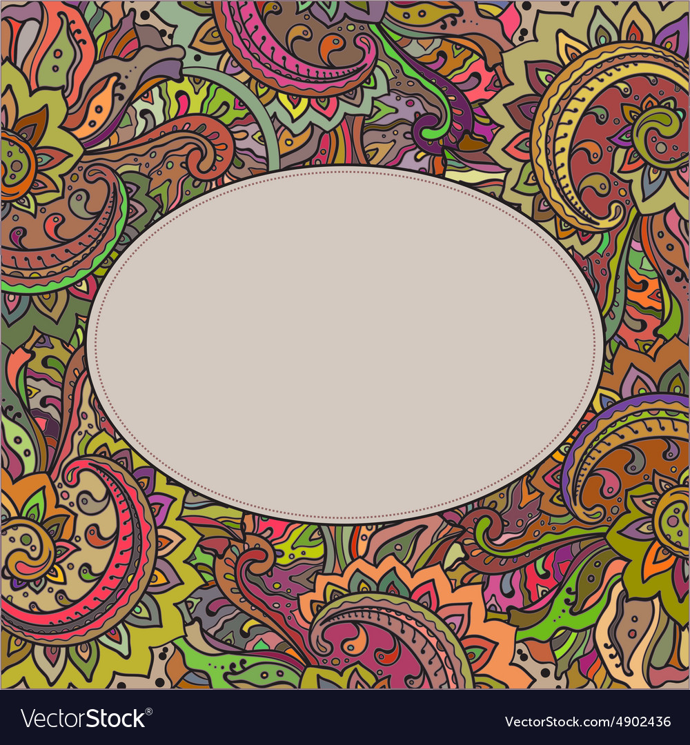 Frame of the indian floral ornament vector image