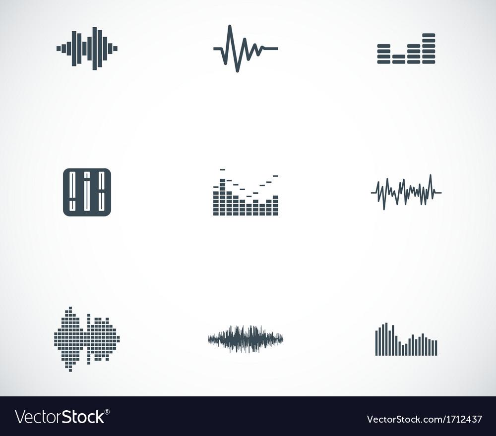 Black music soundwave icons set vector image