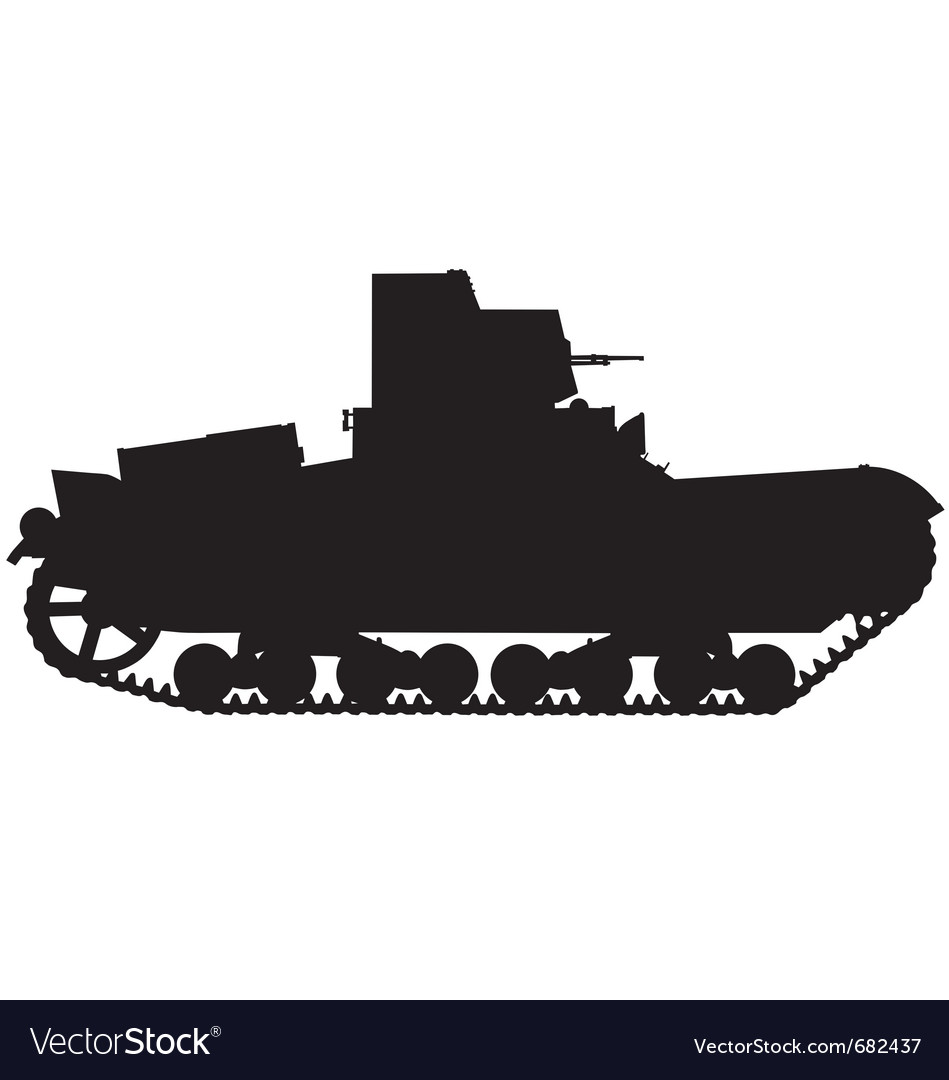World war two tank silhouette vector image