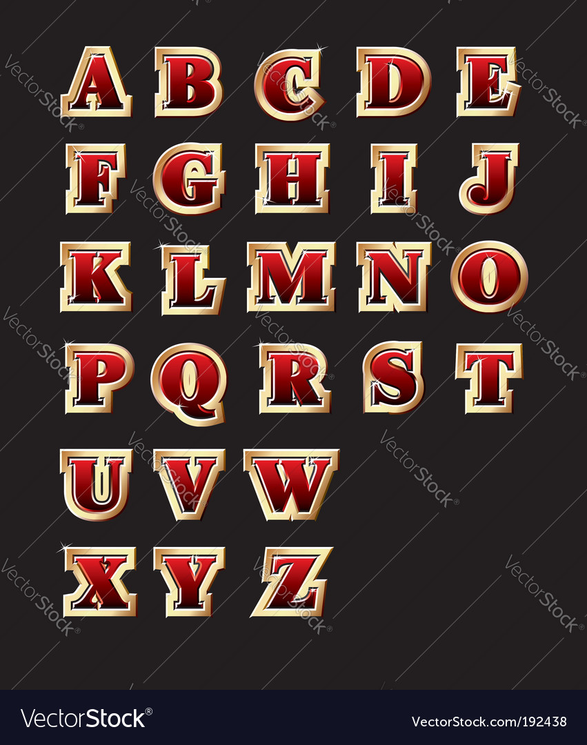Golden style alphabet vector image