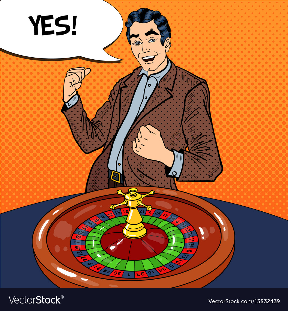 Man behind roulette table celebrating big win vector image