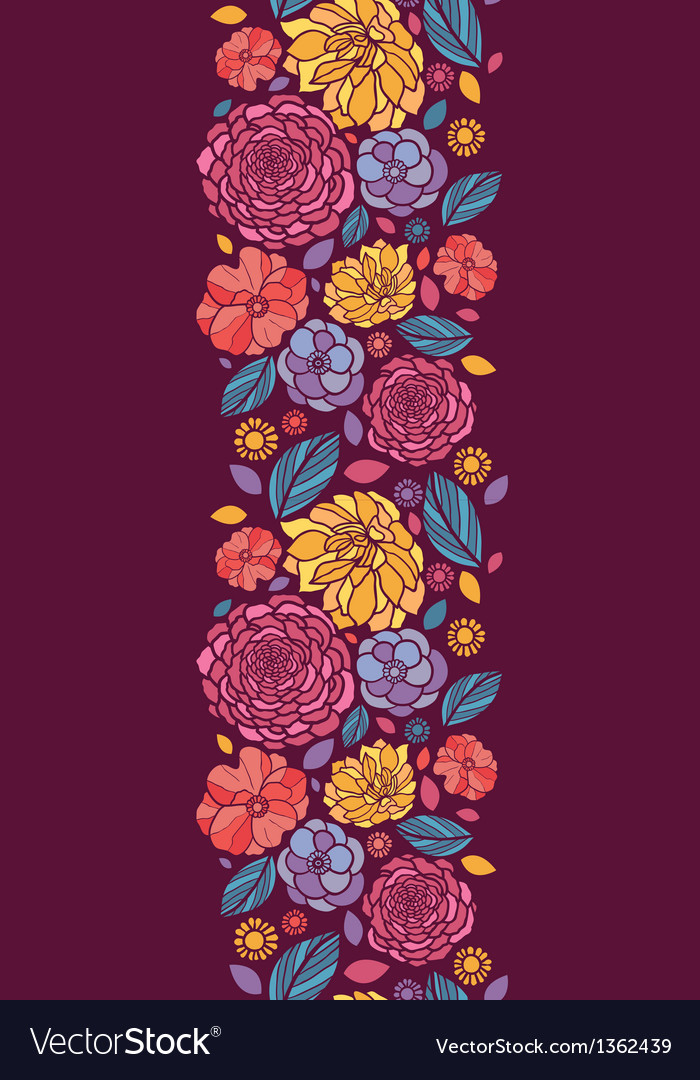 Summer flowers vertical seamless pattern vector image