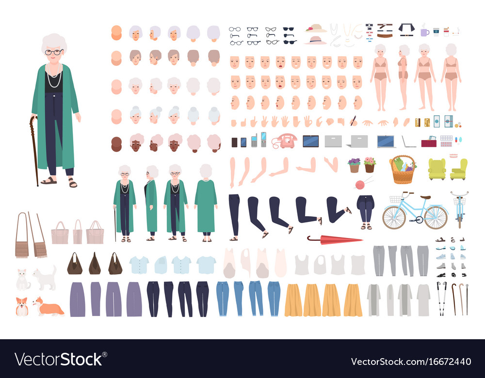 Old lady character constructor trendy granny vector image