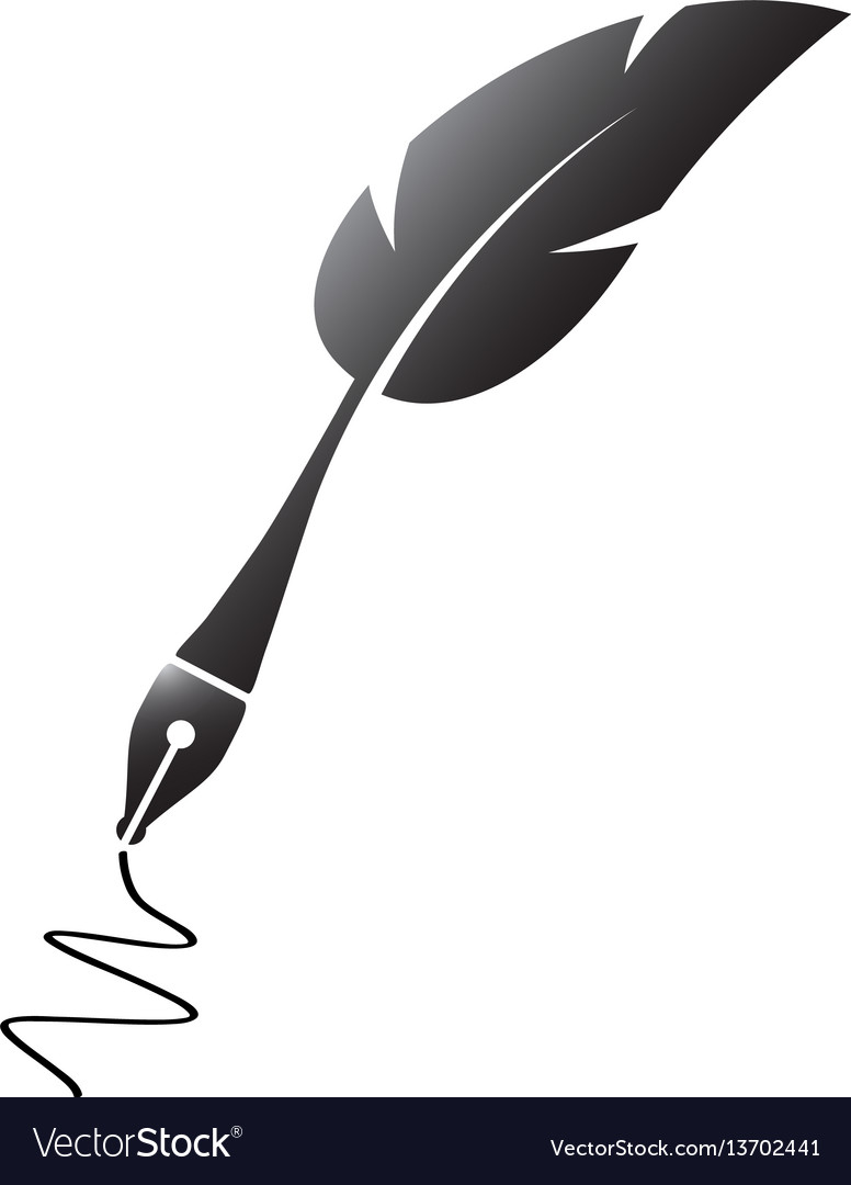 Black feather silhouette pen vector image