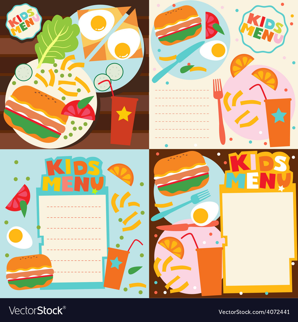 Kids Menu Templates Set Vector Image  Kids Menu Templates