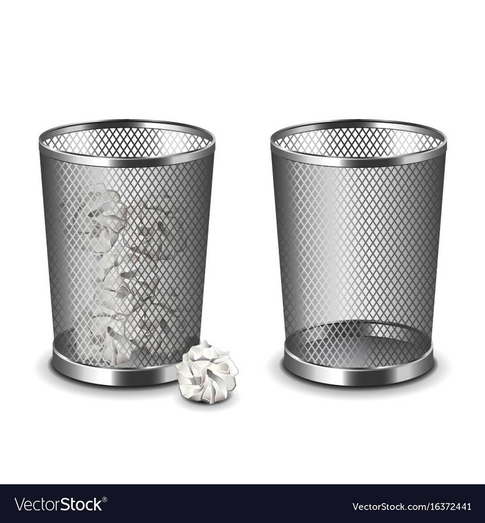 Office bin isolated on white vector image