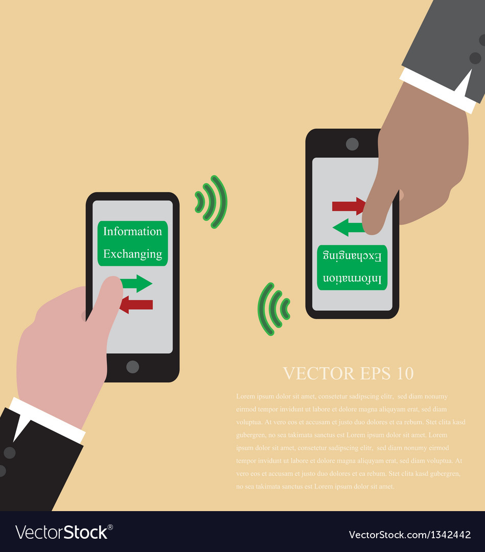 Hand with smart phone are exchanging data via wifi Vector Image