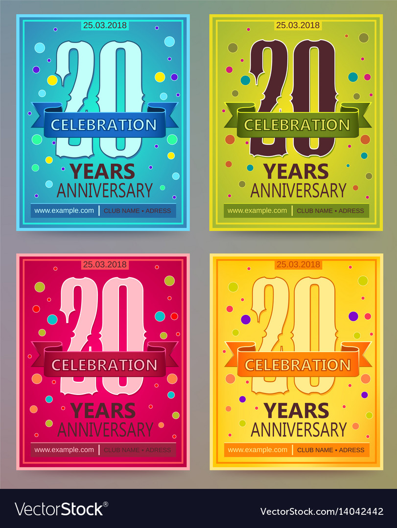 Anniversary flyers or invitations templates vector image