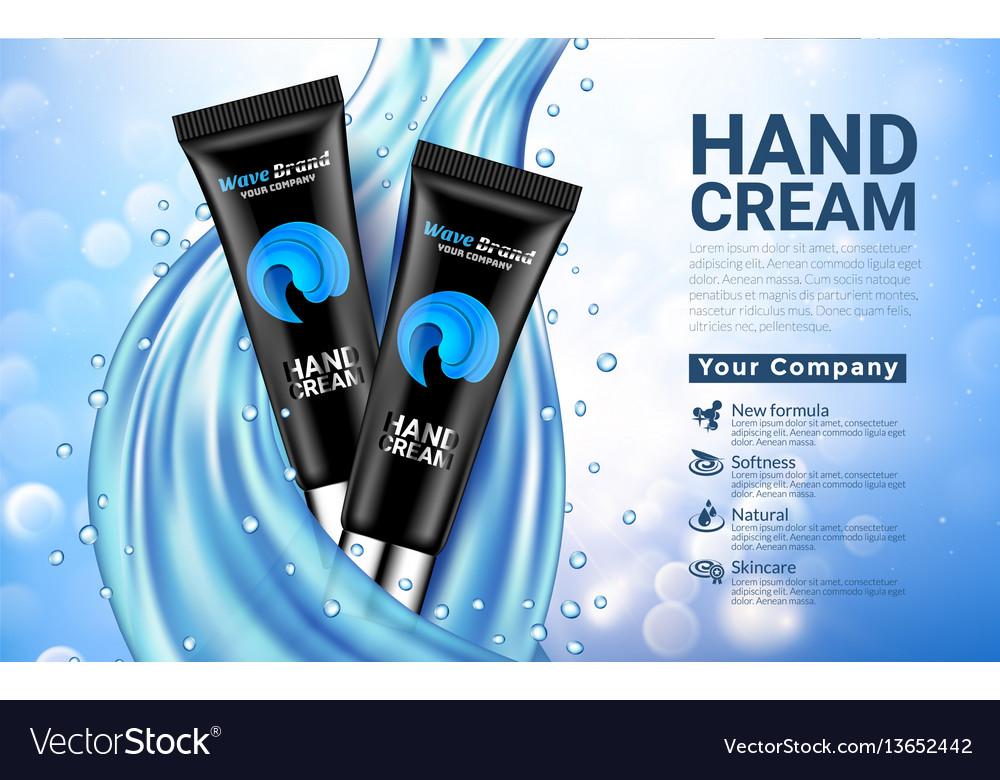 Hand cream black tube on white blue drop blurred vector image