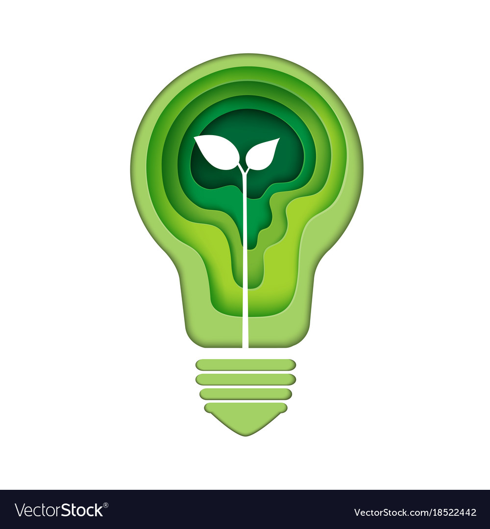 Light bulb icon with green abstract paper art Vector Image for Green Light Bulb Logo  585hul