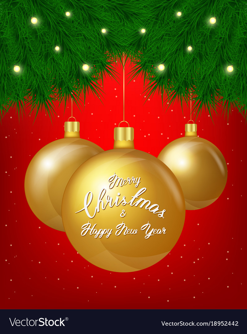 Merry christmas greeting card of golden royalty free vector merry christmas greeting card of golden vector image kristyandbryce Images