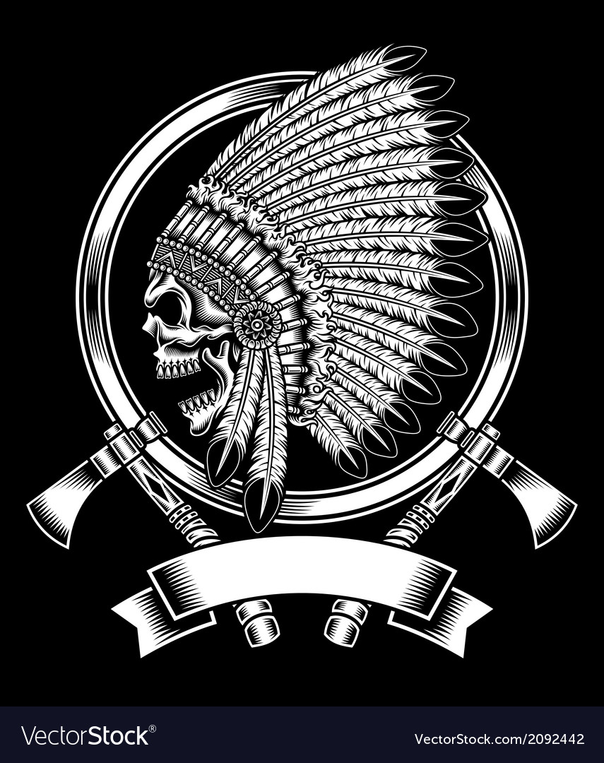 Native American Indian Chief Skull With Tomahawk vector image