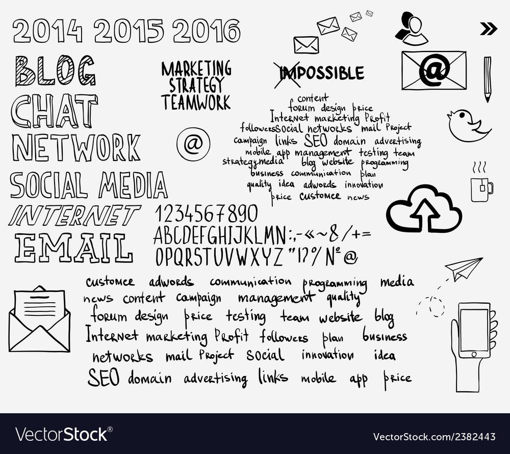 Hand draw doodle sketch mind map blank flow chart vector image nvjuhfo Images