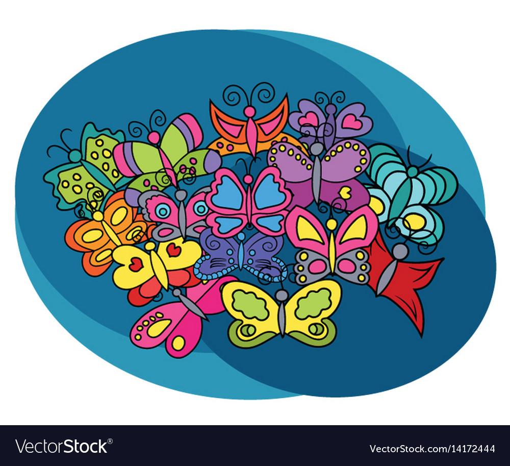 Butterflies design set vector image