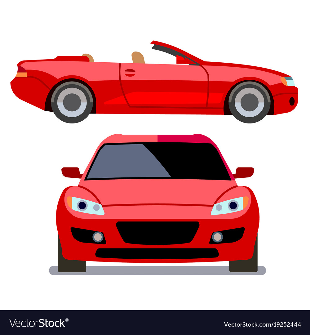 Flat-style cars in different views red vector image