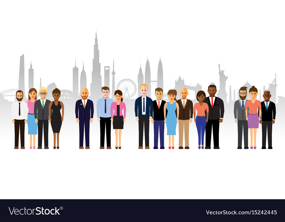 Business people on a cityscape background vector image