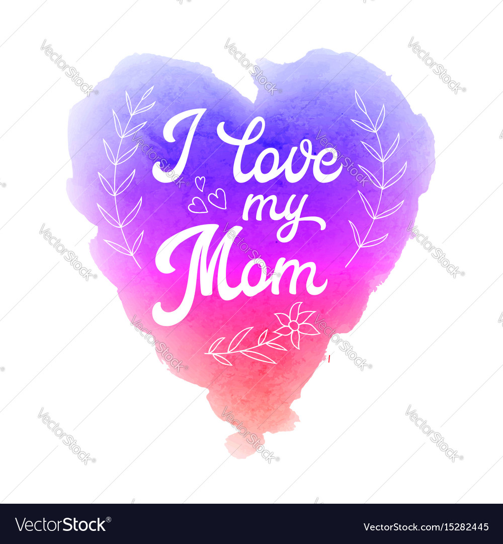 Mothers day greeting card with watercolor heart vector image