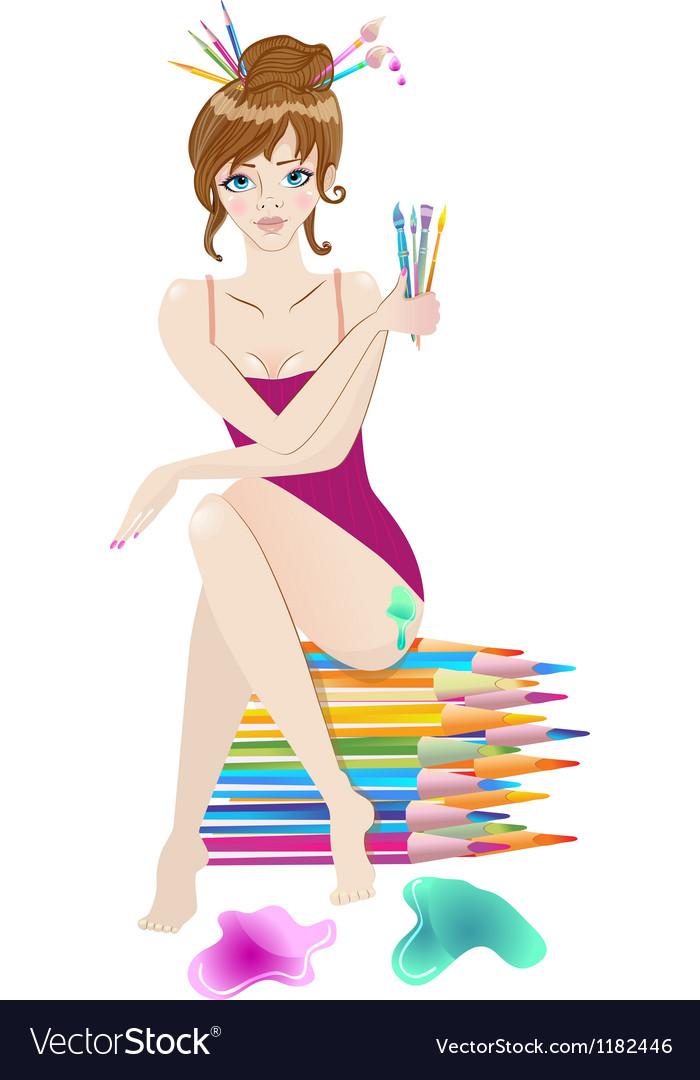 Beautiful female artist vector image