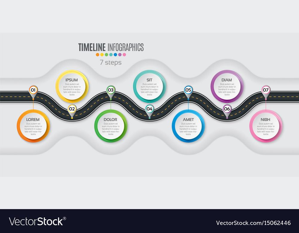 Navigation map infographic 7 steps timeline vector image