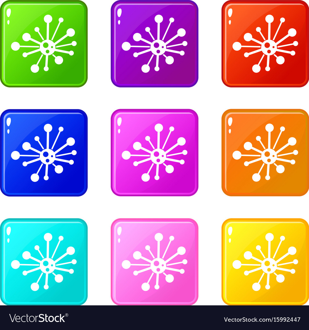 Round bacteria set 9 vector image