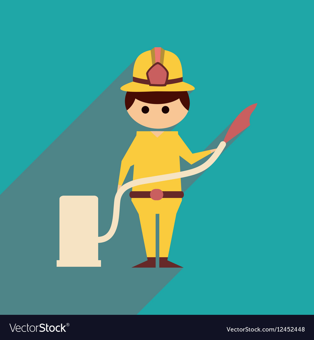 Flat web icon with long shadow Man firefighter