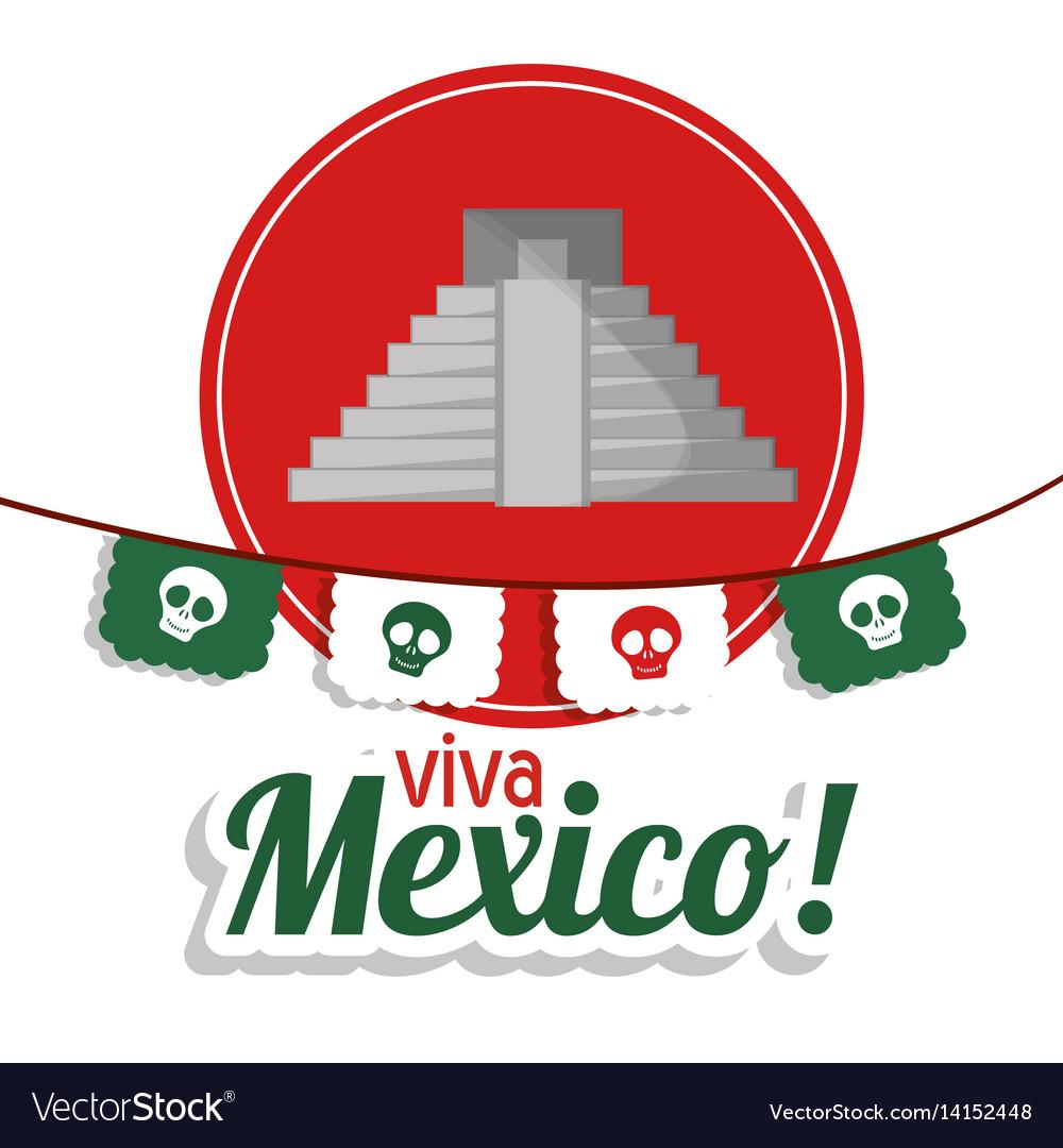 Viva mexico - pyramid festival poster vector image