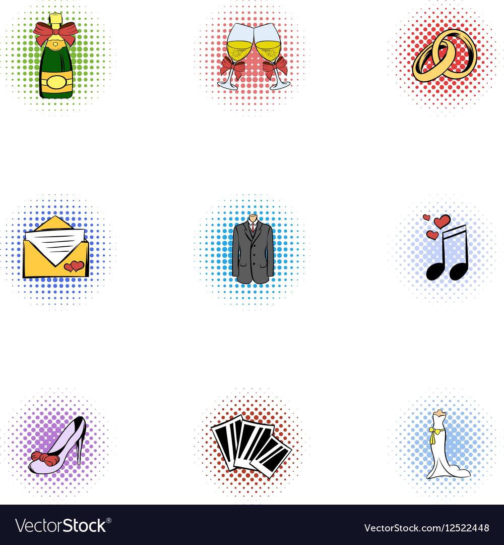 Wedding ceremony icons set pop-art style vector image
