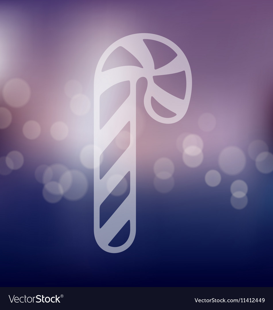 Candy cane icon on blurred background vector image